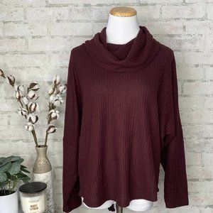 Maurices   Burgundy Waffle Knit Cowl Neck Sweaterv